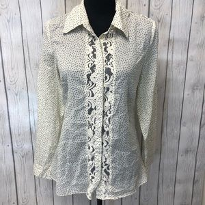 ANTHROPOLOGIE Lil ditsy floral lace blouse 6